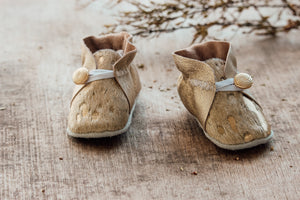 Baby Shoes - Gold Cowhide with Gold Leather Sides with Button - CHCBB10