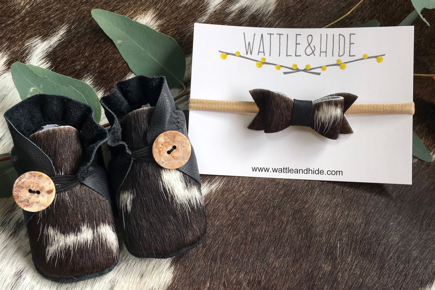 Booties & Bow - Black & Cowhide