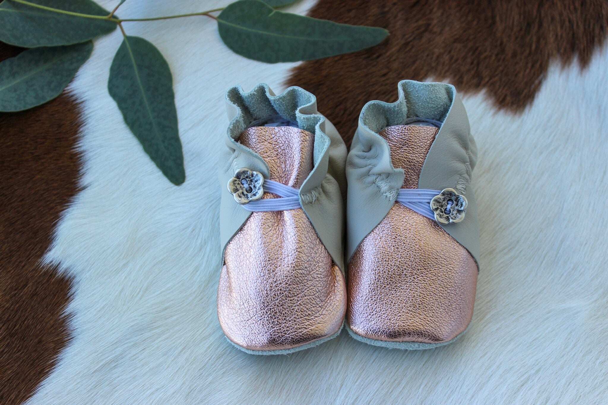 Baby Shoes Rose Gold and Cream with Button - CB022