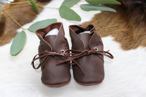Baby Shoes Brown Leather with Lace - CL005
