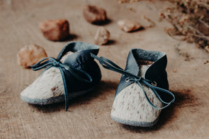 Baby Shoes - Navy Sides with Brown/Tan & Cream Cowhide with Navy Laces - CL007