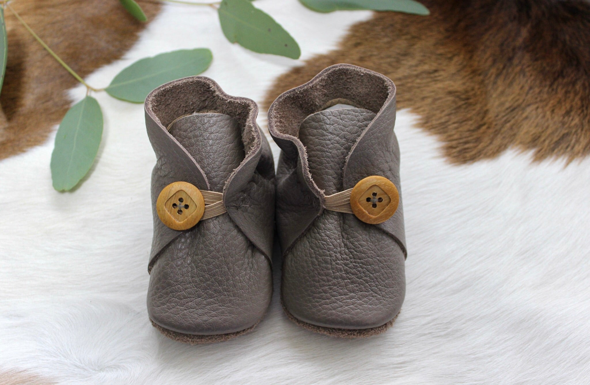Baby Shoes Taupe Leather with Button - CB002