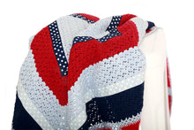 Load image into Gallery viewer, Hand Crochet Blanket - Navy & Red