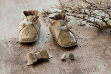 Load image into Gallery viewer, Booties, Bow & Earrings - Gold & Cowhide