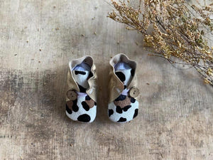Button Bootie - Vintage Gold & Painted Leopard Print Hide (CHBB32)