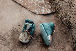 Laced Bootie - Turquoise & Cowhide (CHL031)