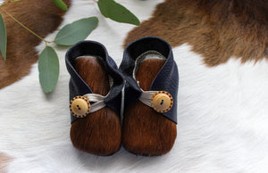 Baby Shoes - Navy & Dark Brown Cowhide - CHB01