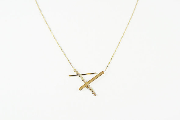 Foundation necklace, Modern minimal 14K gold diamond necklace