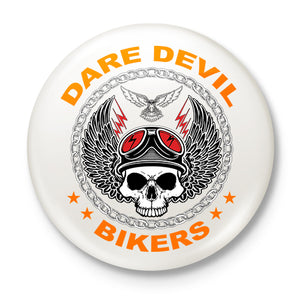 Dare Devil Biker Button Badge