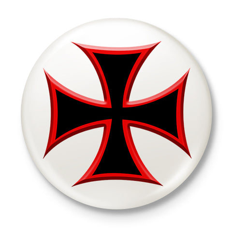 Biker's Cross Button Badge