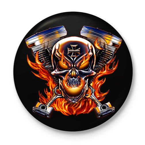 Biker To The Bone Button Badge