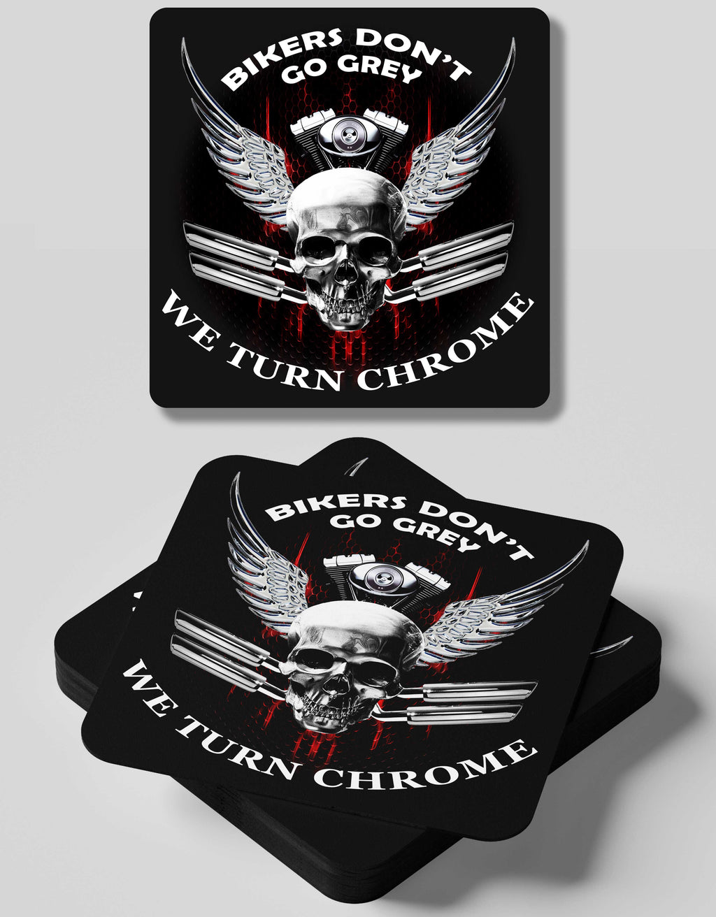 Bikers Turn Chrome Coaster- 4 Coasters Set