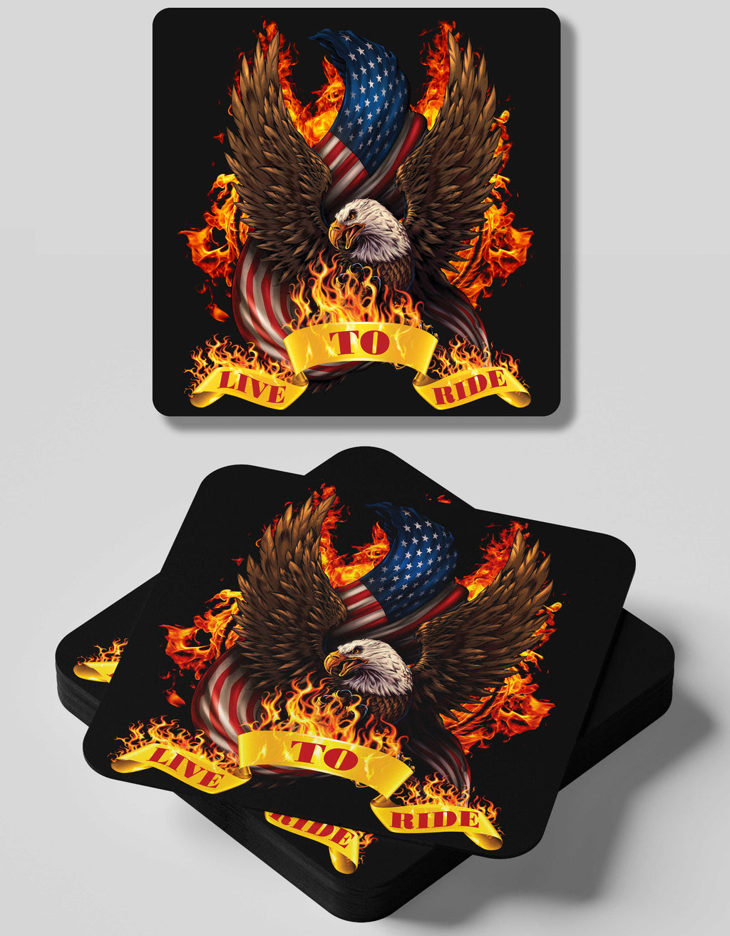 Live To Ride- 4 Coasters Set
