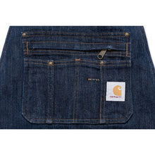 close up of front pockets on Carhartt denim apron