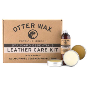 Otter Wax leather care kit showing all items included in kit