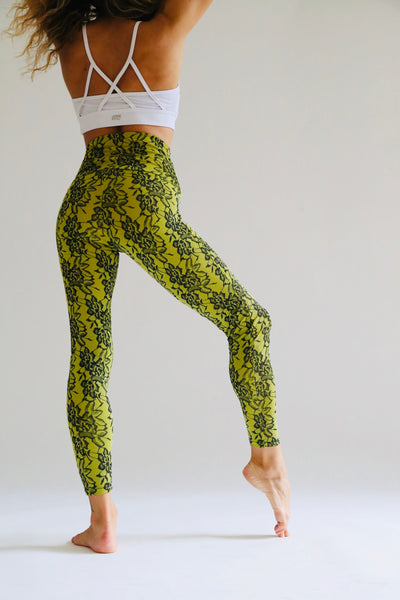 Lace Print Yellow Leggings - KDesign Fitness