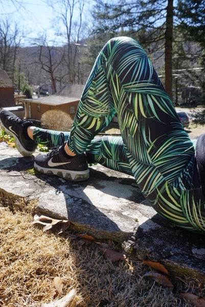 Green Leaf Print Leggings - KDesign Fitness
