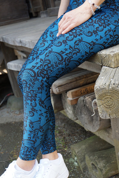 Lace Print Blue Leggings - KDesign Fitness