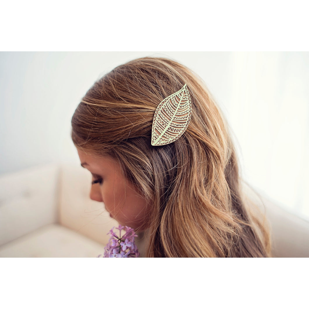 Sage Geo Leaf Wood Hair Clip