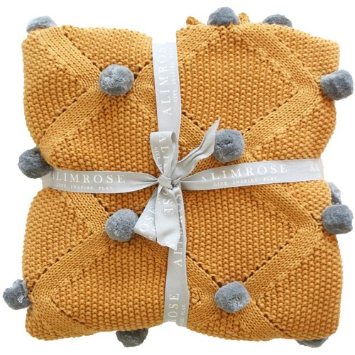 ALIMROSE | Organic Pom Pom Blanket - Butterscotch & Grey