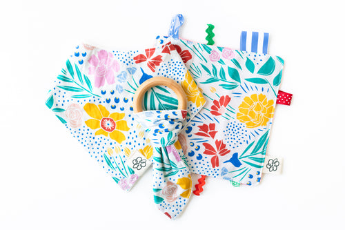 Bunny Ear Teether/ Crinkle Paper/ Baby Bib