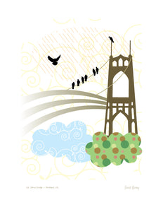 Portland Bridge Print - St Johns Bridge