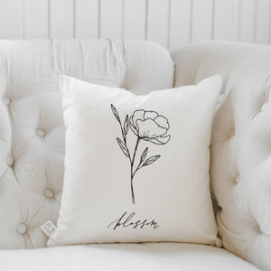 Blossom Wildflower Throw Pillow