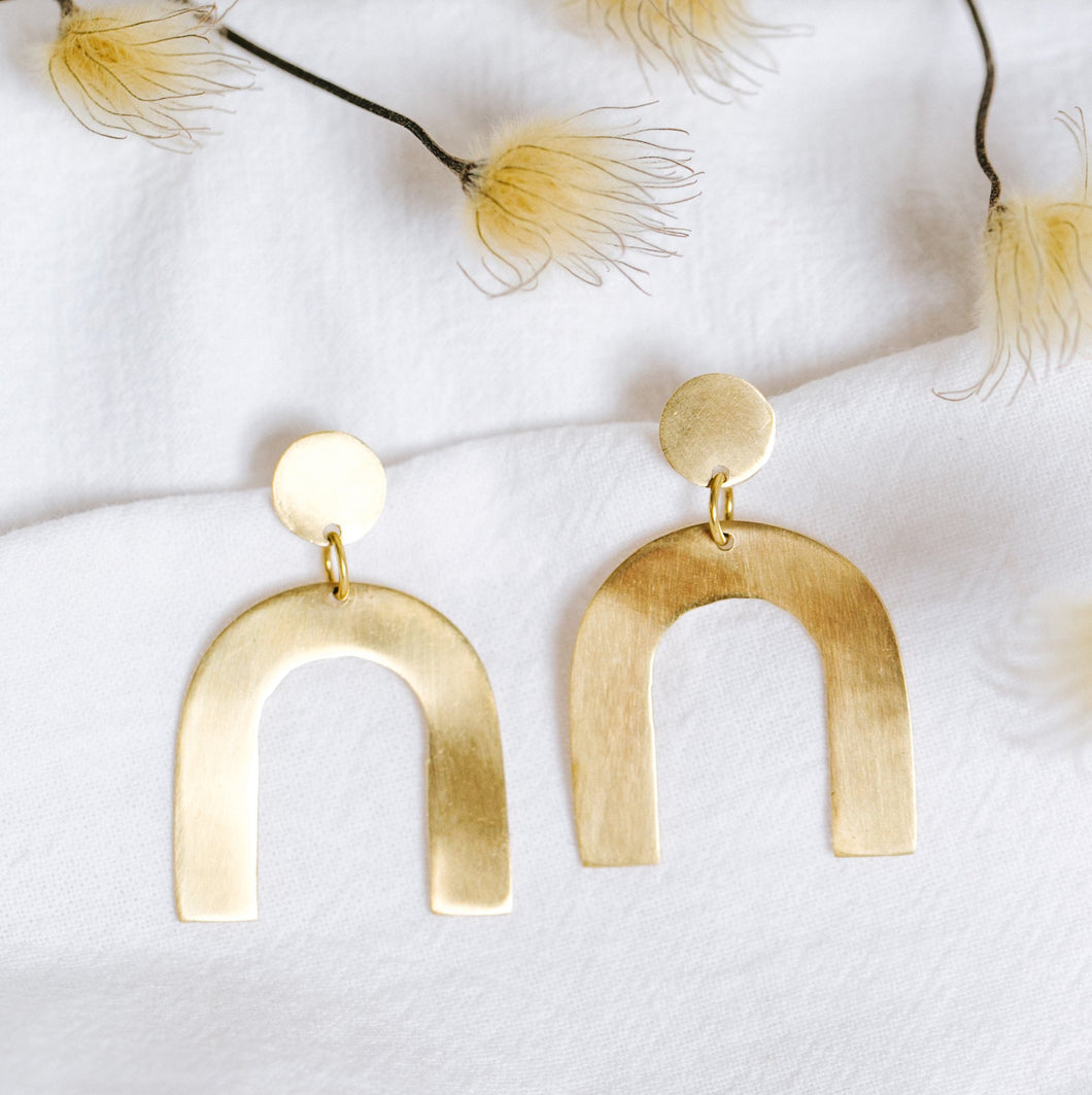 Petite Arch Earrings - Brass