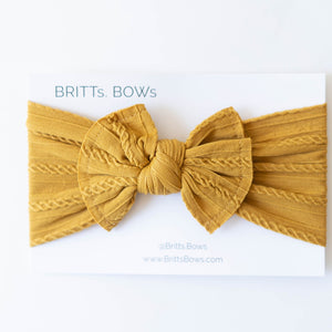 Cable Knit Baby Head Wrap : Mustard