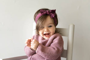 Cable Knit Baby Head Wrap : Dots
