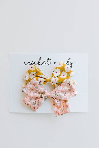 Cricket and Ruby Linen Bow Clip | Blush & Mustard Floral - 2 Pack