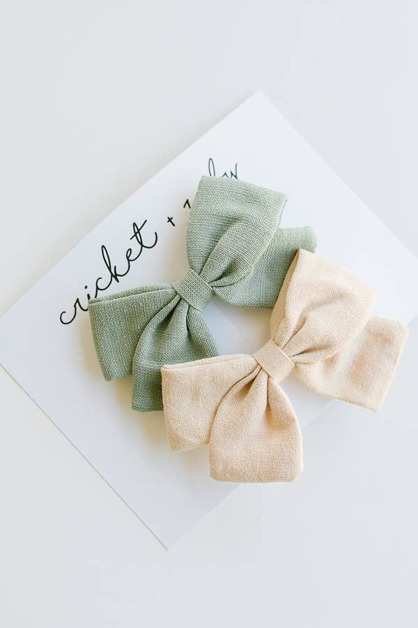 Cricket and Ruby Linen Bow Clip | Sage & Tan - 2 Pack