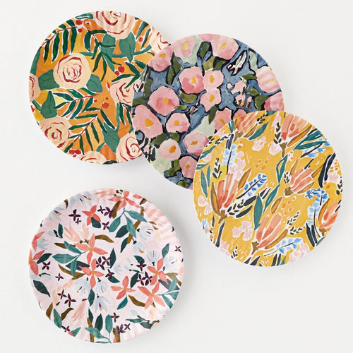 Watercolor Florals Melamine Plates - set of 4