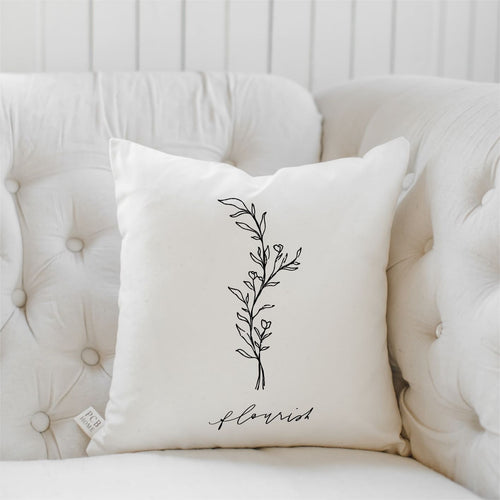 Flourish Wildflower Throw Pillow