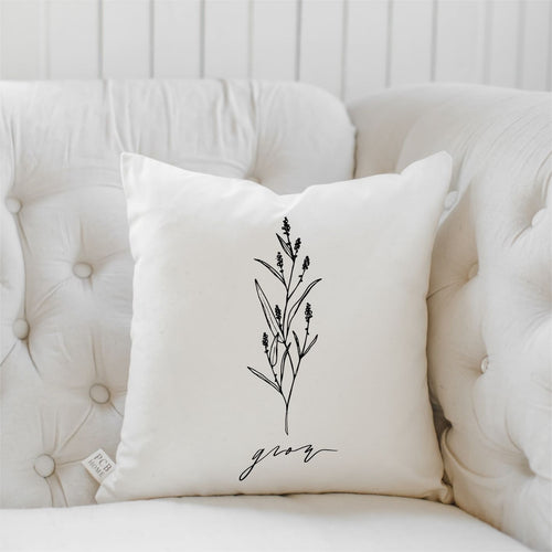 Grow Wildflower Throw Pillow