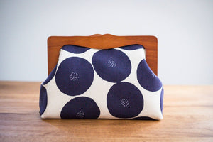 Wooden Frame Clutch Bag with Removable Shoulder Strap - Dot