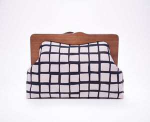 Wooden Frame Clutch Bag with Removable Shoulder Strap - Square