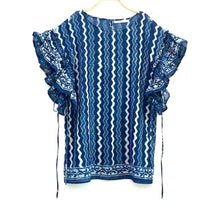 Load image into Gallery viewer, Kasa' maya Cotton Hand Block Print Natural Dye Ruffle Sleeves Short Dress Chevron