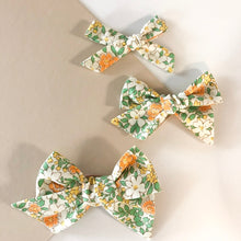 Load image into Gallery viewer, Sunshine Floral Schoolgirl Bows- set of 2