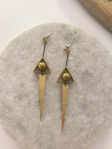 Brass Geo dangle studs