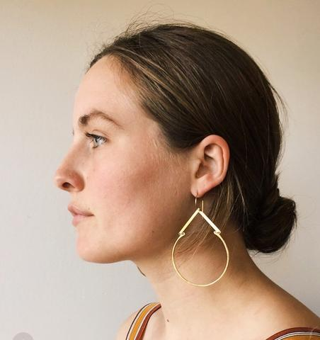 Brass Geo top hoop earrings