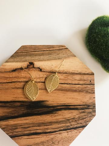 Little brass leaf earrings