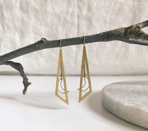 Brass moon dangle earrings