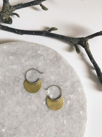 Tiny brass disc circle sterling earrings