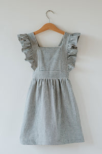 Silly Daisy Ruffle Pinafore Dress - Blue Stripe