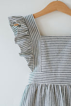 Load image into Gallery viewer, Silly Daisy Ruffle Pinafore Dress - Blue Stripe