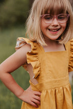 Load image into Gallery viewer, Silly Daisy Ruffle Pinafore Dress - Mustard