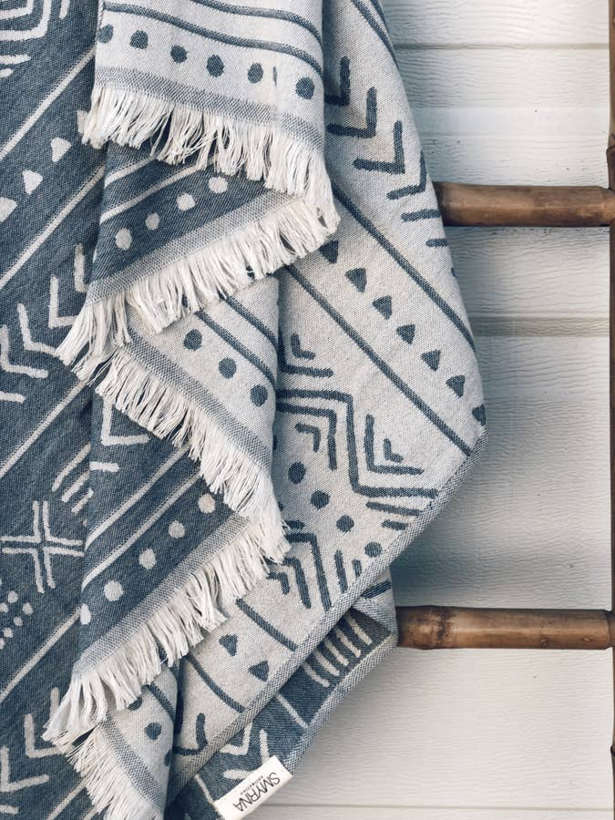 Ethnic Cotton Turkish Towel - Indigo