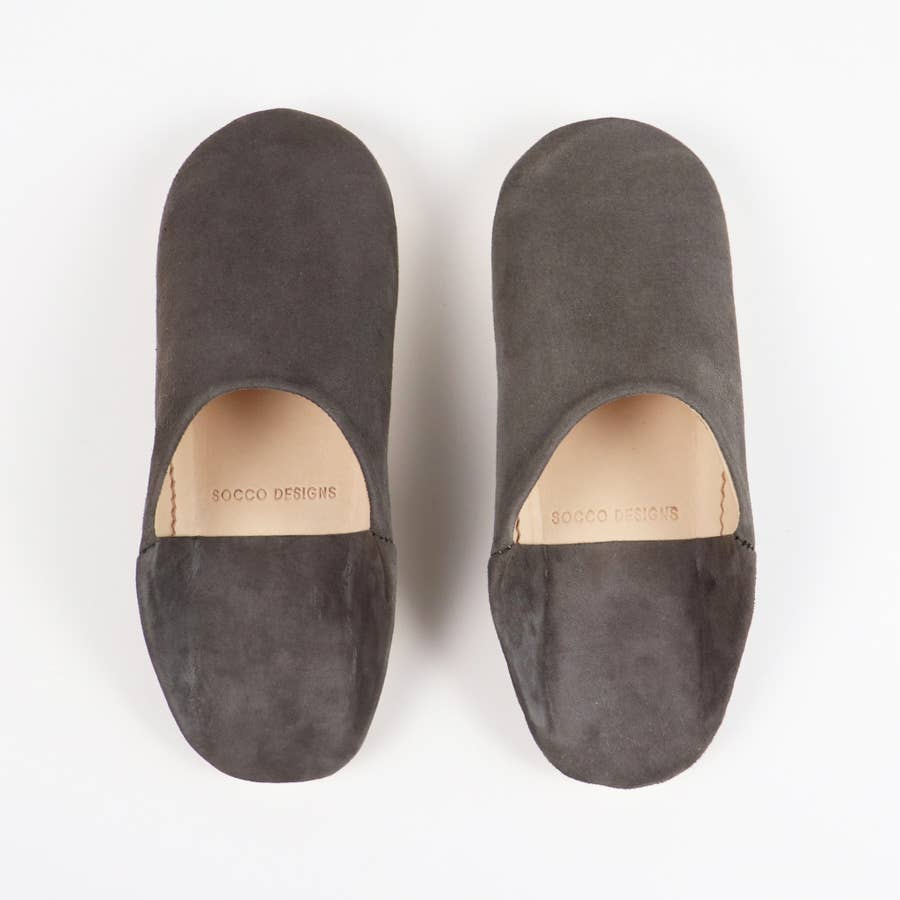 Suede Slippers, Charcoal - Women Moroccan Babouche Slippers