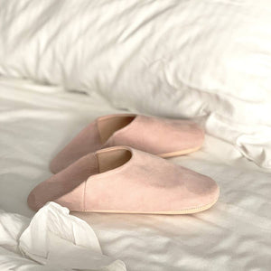 Suede Slippers, Blush - Women Moroccan Babouche Slippers